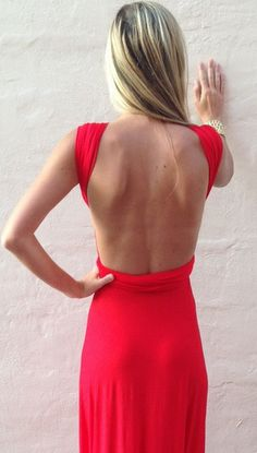 beautiful long red backless dress