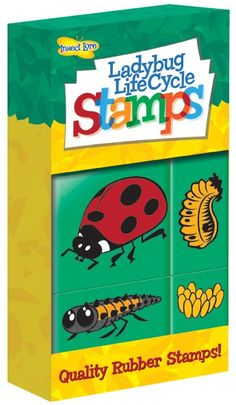 Teach the lifecycle of the ladybird with these fun stamps! These quality rubber hand stamps show all four life cycle stages of the ladybird in a fresh new way. Four stamps depict the egg, larva, pupa and adult ladybird stages. Life Cycle Stages, Ink Pads, Life Cycles, Hand Stamped, Ladybug, Insects, Stamps, Egg, Faces