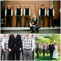groomsmen in ties and sweater vests. I like this. I like this a lot.