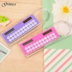 Hot Cute Colorful Mini Portable Solar Energy Calculator Creative Multifunction Student Ruler Gift Dec13