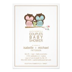 Cute Owl Family Couples Baby Shower Neutral Announcement. $1.90  #owlbabyshowertheme  #couplesbabshower #couplesbabyshowerinvites