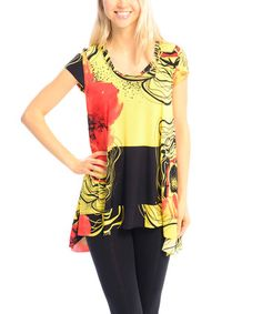 Another great find on #zulily! Yellow & Black Floral Hi-Low Tunic - Women #zulilyfinds