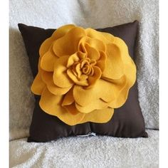 Throw Pillow Vintage Pillow Mustard Yellow Rose on Brown
