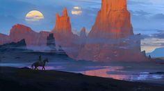 Desert with two moons by Raphael-Lacoste on DeviantArt