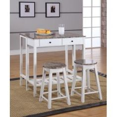 Pilaster Designs Rave 3 Piece White & Marble Top Wood Contemporary Kitchen Dinette Breakfast Pub Set (Folding Drop Down Table, 2 Stools, 2 Storage Drawers) Patio Bar Set, Pub Table Sets, Table And Chair Sets, Pub Tables, Dining Room Furniture Sets, Dining Room Sets, Furniture Decor, Marble Furniture, Cheap Furniture