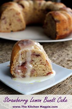 Strawberry and lemon bundt cake. Moist, dense and delicious! | The Kitchen Magpie