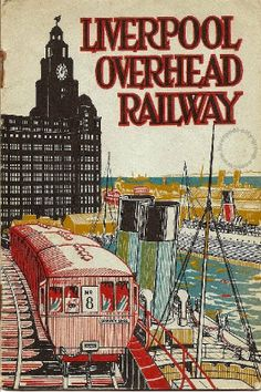 The much missed LOR ran parallel to the Mersey through the centre of Liverpool serving Dingle at the east end and Seaforth at the west. The image gives a good impression of the train sets, the elevated tracks and the Liverpool landscape served. Liverpool Poster, Liverpool Life, Liverpool Docks, Liverpool History, Liverpool England, Vintage Advertising Posters, Vintage Travel Posters, Vintage Advertisements, Train Posters