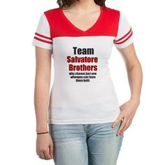 Team Salvatore Brothers Jr. Football T-Shirt $21.59 Team Salvatore Brothers. Why choose just one when you can have them both. Cute Vampire Diaries custom merchandise.