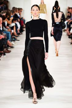 Ralph Lauren Spring 2015  Black Two-Piece Midriff Gown