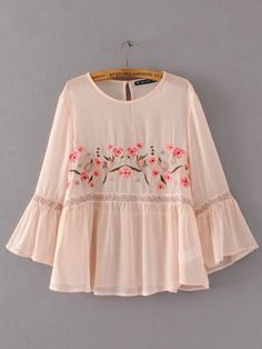 2017 Spring ZA Women Chiffon Blouse New ZA Style Floral Embroidery O-neck Flare Sleeve Ruffles Solid Color Kimono Women's Shirt