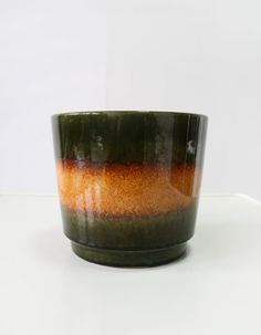 Vintage Scheurich Keramik Moss Green Orange Fat by WestEstShop