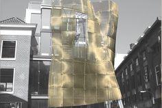 TYLER MESH Sculpture Exteriors De Baljurk Gold Dress Stainless Steel Woven Wire