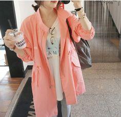 コート - ファッションの聖地である韓国東大門発 ハートモチーフ入りゆったりとしたウエスト締めレディースアウター
