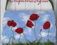 Felted bag - Poppies