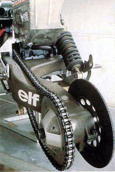 elf-e タイヤ交換時にチェーン、ブレーキに一切触らなくて済む。elfが残した功績のうち最も普及したもの