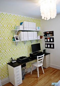 Desk on top of file cabinets