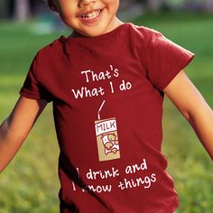 """This Game of Throne shirt for the ultimate Tyrion Lannister fan is now available in toddler size! Now you can show your allegiance to the Lannister who famously said, """"I drink and I know things"""", with your toddler. It is a must have for any fan, big or small. Your toddler can start a fanfare of his or her own with this adorable t-shirt. This shirt is sure to gain the attention of any Game of Thrones fan. Use coupon code PINFIVE for 5% off!"""
