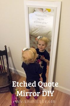 Make your own DIY Quote mirror by etching the glass! Easy tutorial will show you how. Plus, beef up a cheap door mirror to give it style on a budget.
