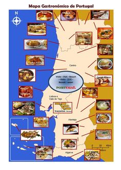 EN - Gastronomic Map of Portugal Portuguese Lessons, Learn Portuguese, Portuguese Recipes, Portuguese Food, Wine Recipes, My Recipes, Food Map, Wine Cocktails, Spain And Portugal