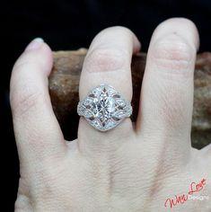 Forever One Moissanite Oval Antique Filigree Milgrain Engagement Ring, 3ct, 9x7mm - 18k Rose Gold