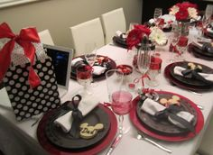 White black and red table settings