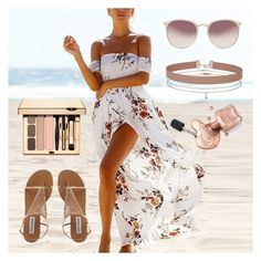 """Demure Beach Look"" by crystal-angel66 ❤ liked on Polyvore featuring Miss Selfridge, Linda Farrow, Flowers, dress, sandals, beach and coast"