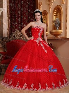 Red ball Gown Tulle Appliques Dress For Quinceanera in Carrickfergus