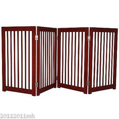 Folding Pet Gate Fence Wood Divider Safety Dog Pen 4 Panels Doorway Hall