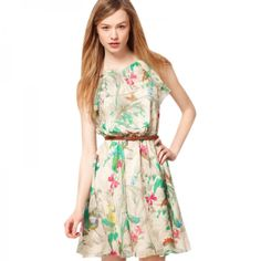 4a9db391e89 Fashionable Floral Printed Pattern Sleeveless Chiffon Dress with a Belt.  Check out the Tmart link
