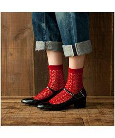 Socks shop (Kutsushitaya) [shop] socks yl Mac socks (socks)   Red system other