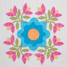 Foribunda by Erin Russek - Block 3 Quilt Block Patterns, Applique Patterns, Applique Quilts, Pattern Blocks, Embroidery Applique, Quilt Blocks, Quilt Kits, Hand Applique, Machine Applique