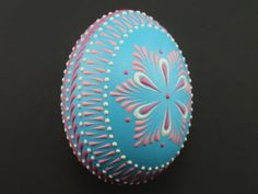 Easter Pysanka in Blue Hand Painted Chicken Egg, Wax Embossed Easter Egg