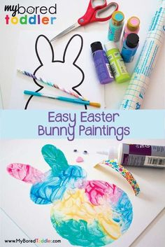easy Easter bunny painting activity for toddlers. A great toddler activity for Easter. If you are looking for Easter painting ideas for one and two year olds then this is the toddler activity that's perfect! Finger painting or use brushes. Visit http://myboredtoddler.com for all of the details.