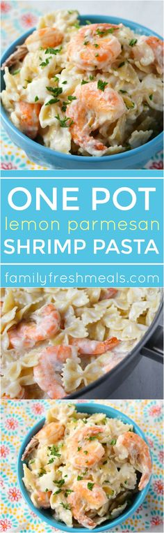 One Pot Lemon Parmesan Shrimp Pasta - Family Fresh Meals