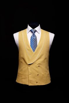 Yellow double breasted six button linen waistcoat with ivory silk piping 7e700babe