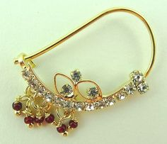 Maroon Beads Golden Rhinestone Indian Marathi Bridal Wedding Nose Ring Nath 104 | eBay
