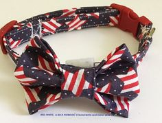 4th of July Patriotic Bow Tie Collar for Male Dogs and Cats