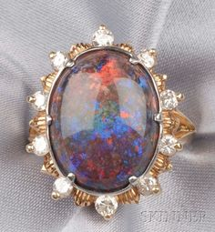 14kt Gold, Black Opal, and Diamond Ring | Sale Number 2510, Lot Number 326 | Skinner Auctioneers