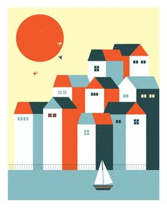 Vacanze hand made screen print measures 16 x 20 inches edition 200 artist: Blanca Gomez Building Illustration, House Illustration, Digital Illustration, Gig Poster, Poster Prints, Art Prints, Illustration Design Graphique, Summer Poster, Art Design