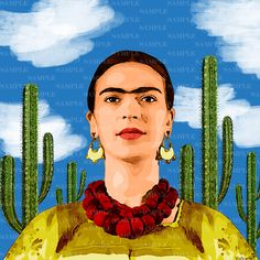 Subscribe to my boards. My poster Frida Mexico. Frida Kahlo cactuses painting collage Poster image Banner Diego Rivera portrait photo picture Frida Print art decor. Buy a poster in my shop on Etsy and get a discount!