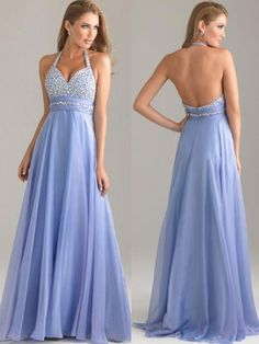 2015 long chiffon blue halter custom prom dress with rhinestone | Cheap prom dresses Sale