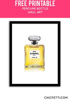 Free Printable Chanel Bottle Art from @chicfetti - easy wall art DIY