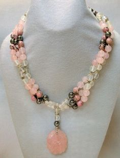 VINTAGE handmade BEAD NECKLACE Sorbet- Chinese Rose Quartz,Crystal | EurekaEureka - Jewelry on ArtFire