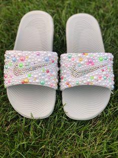 Nike Kawa Slides on Mercari Bedazzled Shoes, Bling Shoes, Rainbow Nikes, Crocs Fashion, Fashion Slippers, Nike Slippers, Girls Skechers, Cute Baby Shoes, Cute Nikes