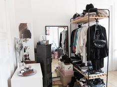 hanging closet space Dressing Room In A Tiny Apartment