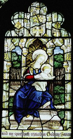 "https://flic.kr/p/25k2hE | Stained Glass, St.Mary, Scarborough | Stained glass in the church of St.Mary, Scarborough, depicting the Madonna and Child. Note the partial text from the Magnificat ""My soul magnifies the Lord, and my spirit rejoices in God my Saviour"" (Luke's Gospel ch 1 vv 46-47) though Mary spoke these words when she was only just pregnant... A very different interpretation from this one"