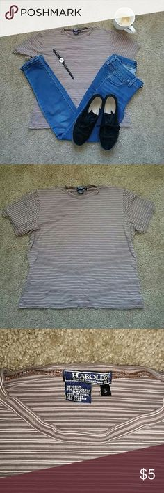 Grunge type shirt 95% silk 5% spandex size large but fit like a medium hits at the hip Harolds Tops Tees - Short Sleeve