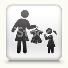 Square Button with Mother & Daughter Shopping royalty-free stock vector art