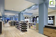 Blue Goose pharmacy by Red Design Group, Melbourne store design timber floor Red Design, Design Blog, Store Design, Pharmacy Store, Pharmacy Humor, Drug Store, Online Pharmacy, Blue Wall Colors, Timber Door