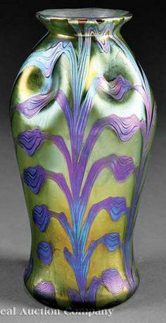 Loetz Glass; Vase, Iridescent, Dimpled Body, Blue Foliate Decoration on Green, 10 inch.